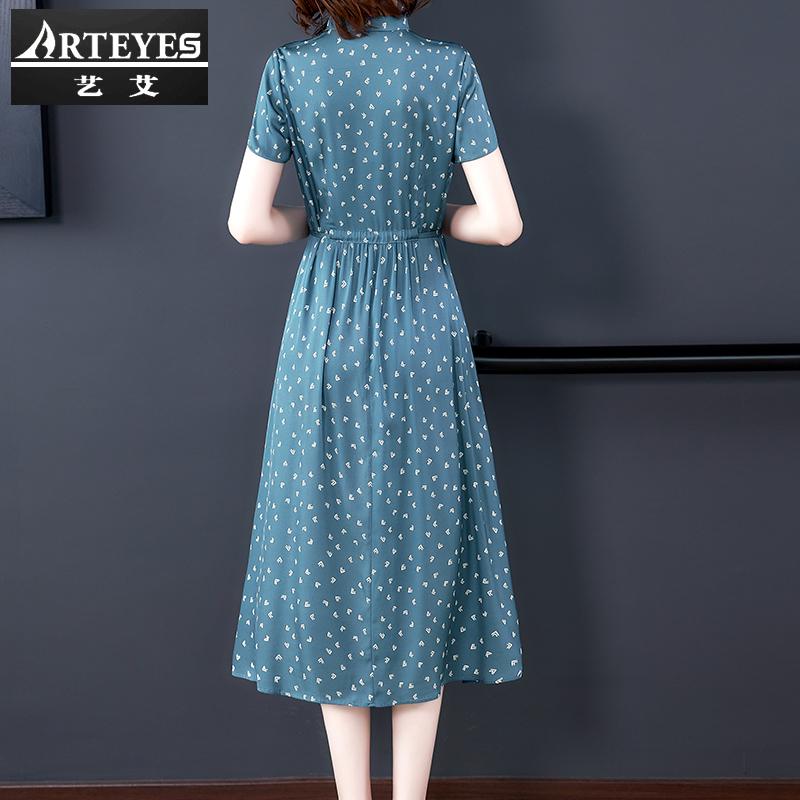 贵夫人大码重磅真丝连衣裙女品牌2021年夏季新款高端大牌桑蚕丝裙主图