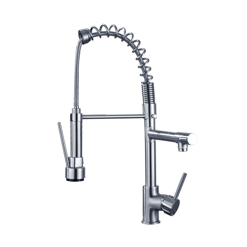 冷热抽拉高压双出水 水槽菜盆弹簧龙头 全铜美式抽拉厨房水龙头