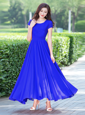 锦绣媛白色雪纺连衣裙2021新款女式夏裙子气质长裙大摆裙沙滩长裙