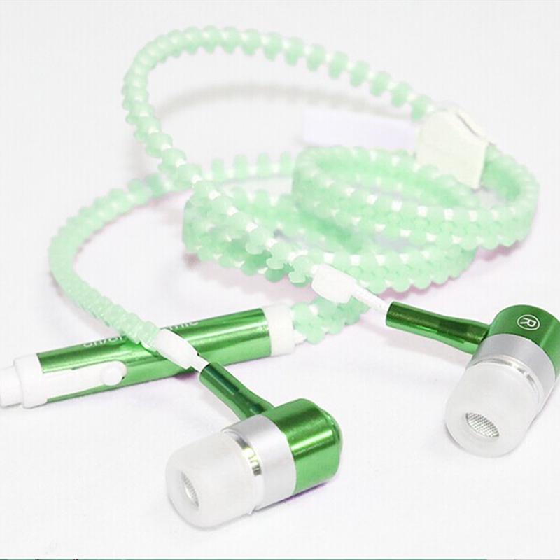 金属夜光荧光耳麦入耳式重低音拉链耳机发光电脑手机线控通用耳塞