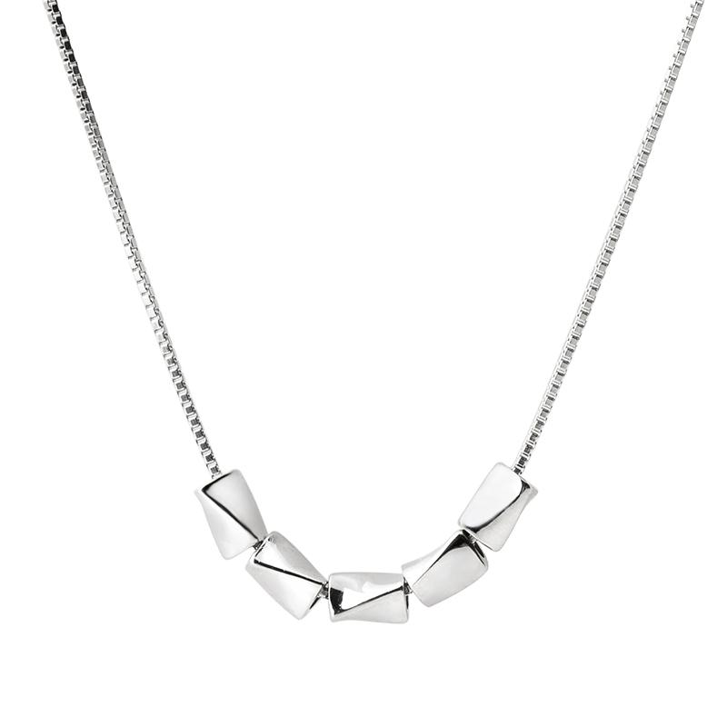 转运珠项链女简约气质银项链女小众锁骨链女纯银短款锁骨项链网红
