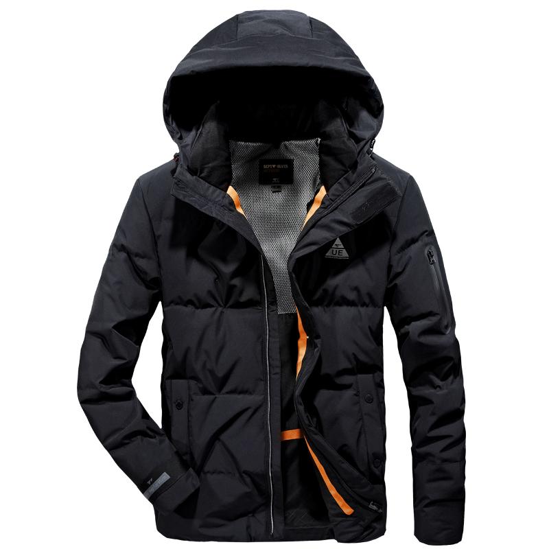 七匹狼冬季羽绒服男运动短款连帽大鹅冬装加厚工装外套上衣服潮牌