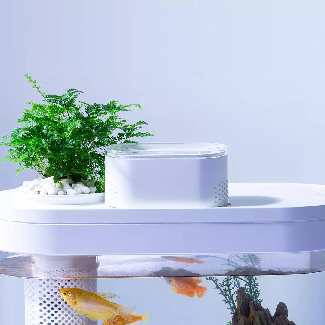 小米画法几何两栖生态懒人鱼缸家用客厅办公室智能自动循环水族箱【图4】