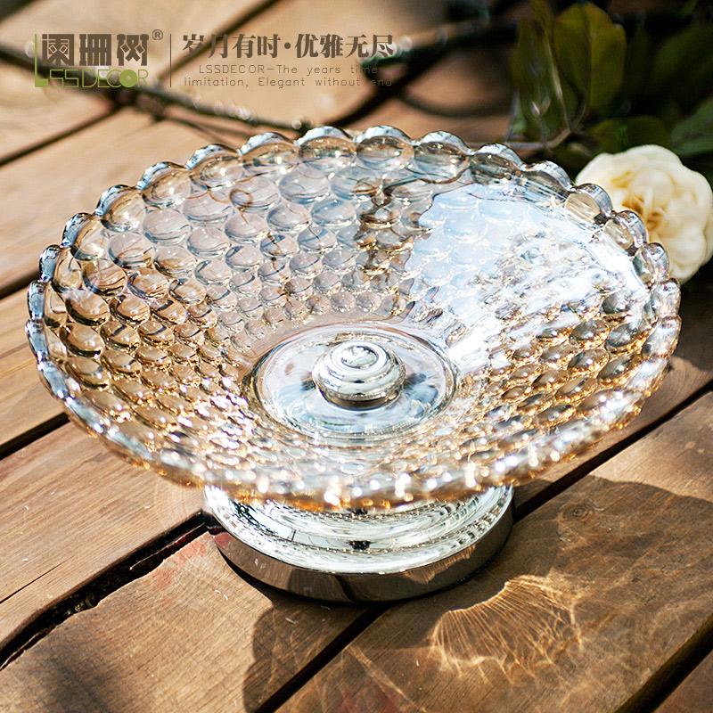 阑珊树-欧式复古珍珠果盘 巴洛克风格家居摆件 典雅简约珠光玻璃
