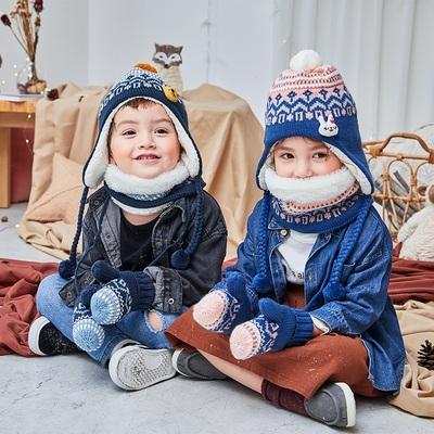 KK树2019新款儿童帽子秋冬男女童加绒护耳帽围脖手套保暖三件套潮