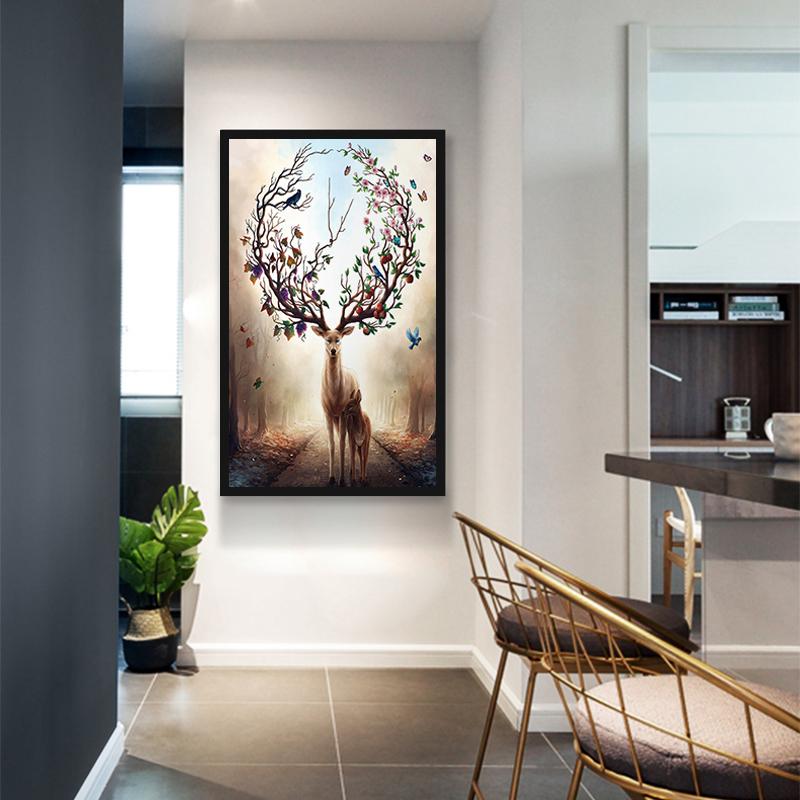 入户玄关装饰画客厅现代简约竖版过道招财风水走廊墙壁画北欧挂画