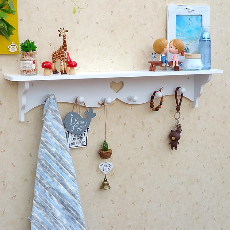創意田園牆壁掛鉤簡約木隔板衣帽架鏤空擱板掛衣架壁飾置物架玄關