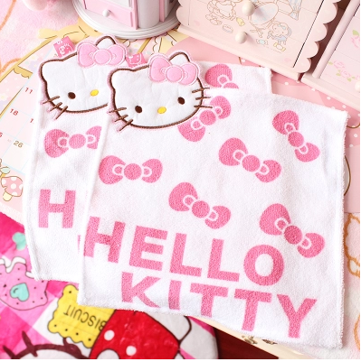 hello kitty可愛韓版毛巾印花潔面巾美容巾方巾純棉掛式擦手巾