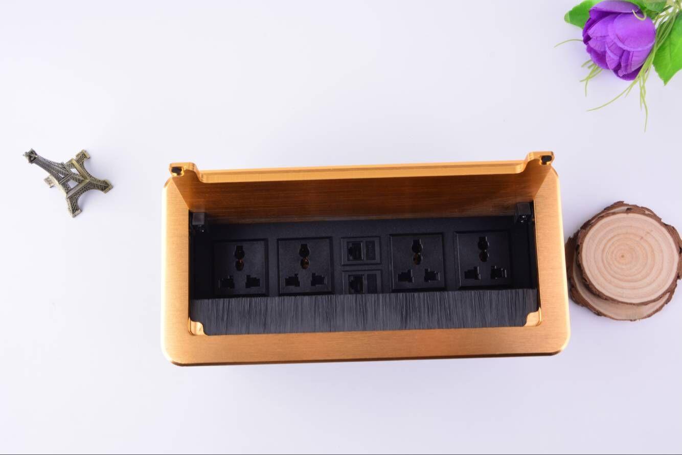 多媒体桌面插座 翻盖隐藏式办公会议台面线盒USB充电多功能信息盒