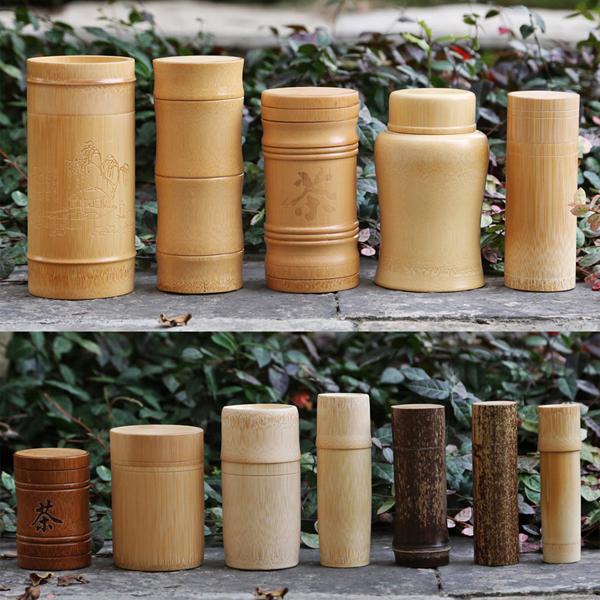 便攜竹茶葉罐子 密封竹筒小號儲茶葉盒 竹木醒茶葉桶大號包裝竹杯