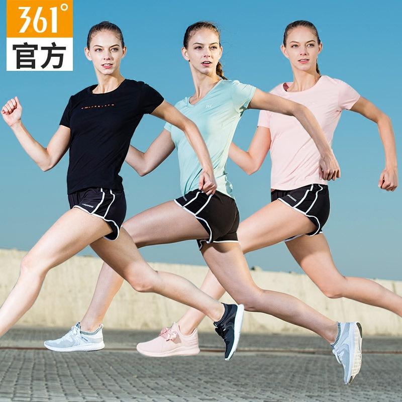 361度运动套装女装2020夏季新款透气运动T恤短裤跑步套装暴汗服女