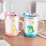 Children rushed home with the cup breakfast milk cup scale straw glass cup with a lid can be heated in a microwave