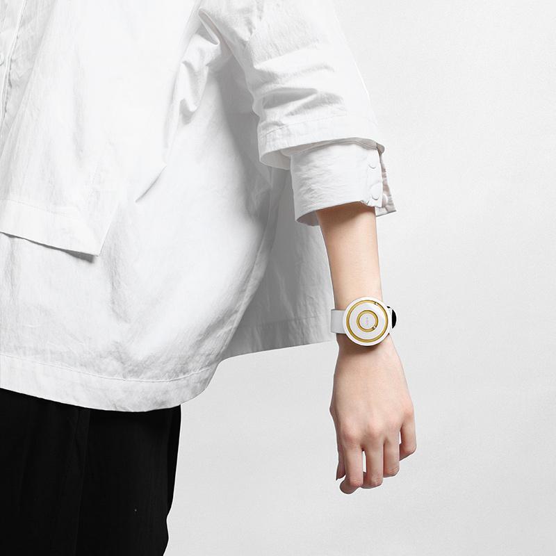 odm欧迪姆正品手表白陶瓷创意概念手表女简约气质ins情侣手表男女