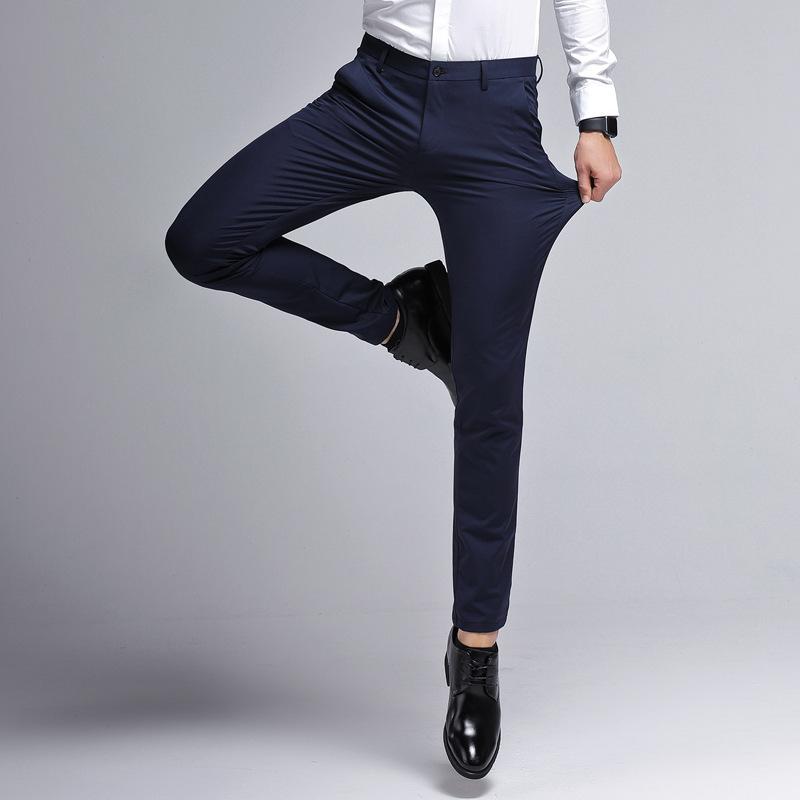 新款韩版潮流小脚西装裤男士商务西裤弹力修身弹力刺绣休闲裤 2018