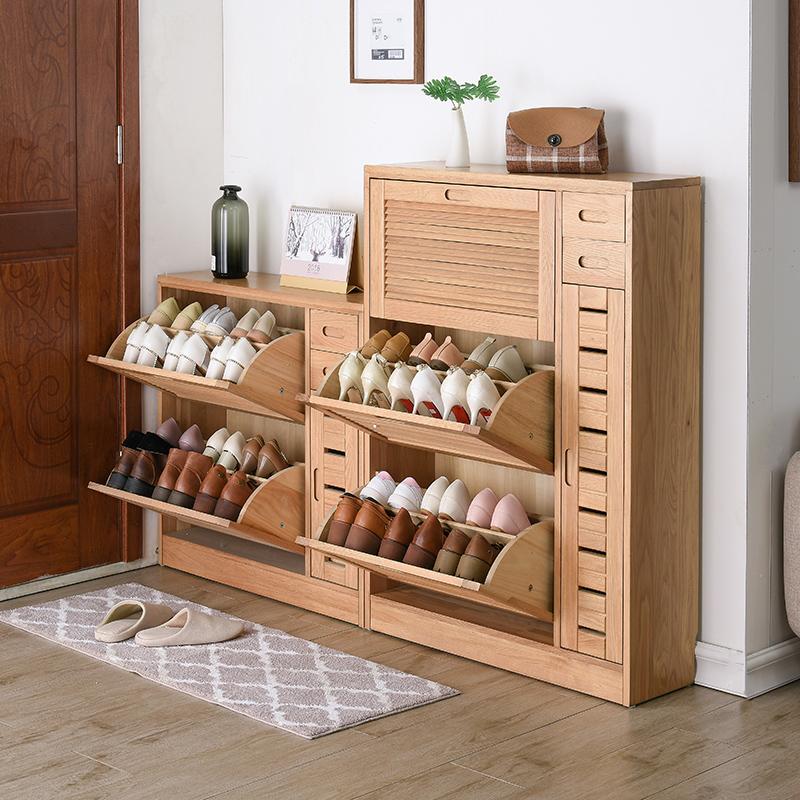家逸实木鞋柜简约现代门厅柜家用翻斗鞋柜超薄大容量玄关柜储物柜