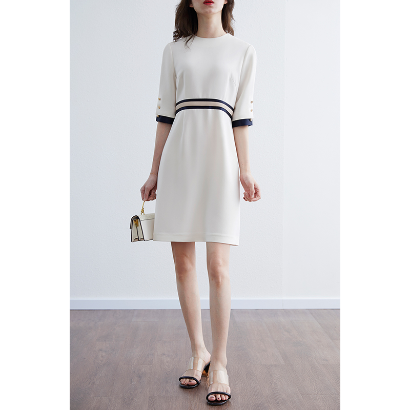 CVANEA之梵2021春夏进口三醋酸优雅小香风气质高腰显瘦连衣裙女