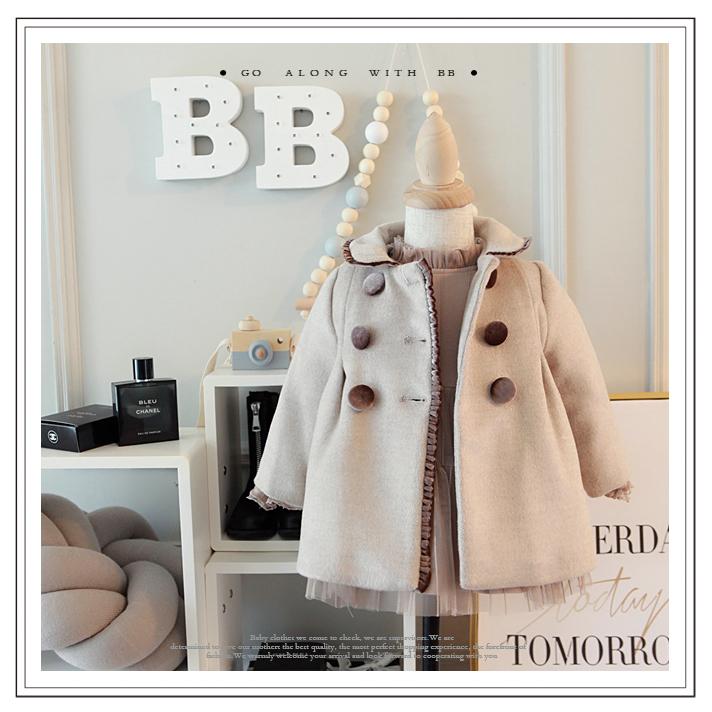 小童冬装新款女孩复古风羊毛呢大衣韩版宝宝燕麦色呢外套01-2-3岁