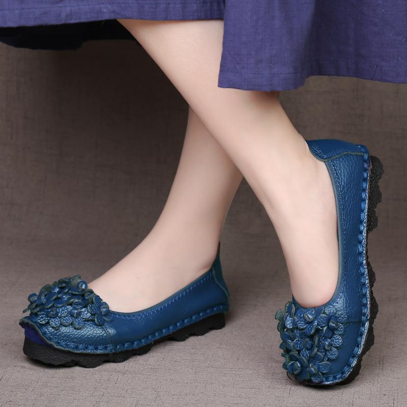 春秋民族風女鞋手工單鞋真皮豆豆鞋女淺口復古媽媽鞋軟底舒適鞋女