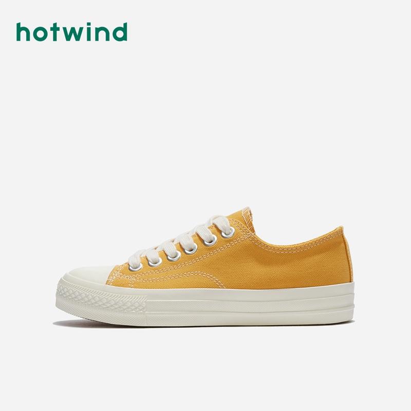 H14W9505 年春季新款学院风女士饼干鞋系带青年休闲帆布鞋 2019 热风