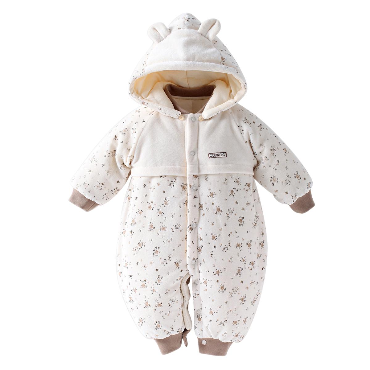 婴儿棉衣加厚保暖0-1岁宝宝冬装男女男宝宝棉服棉袄幼儿连体衣服