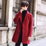 2019 autumn and winter new men's woolen coat Korean version of the slim long trench coat men's plus size woolen coat tide
