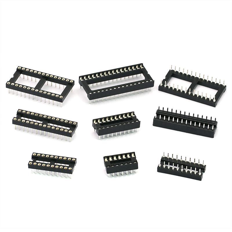 IC插座集成块单片机直插DIP芯片底座子圆孔8P 14 16 20 28 40P脚