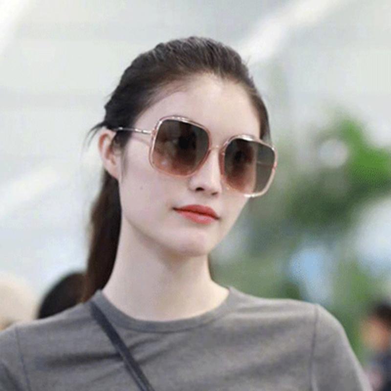 家墨镜女大脸显瘦方框何穗章若楠同款太阳镜黑框渐变色 新款  2020 D