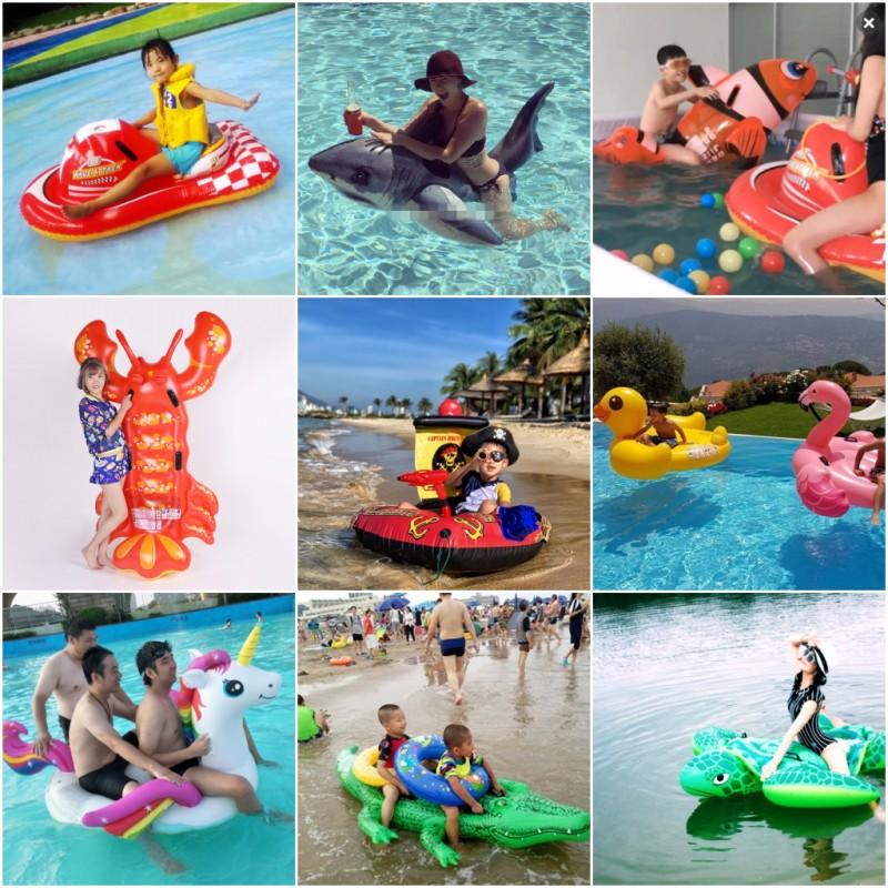 出口国外加厚水上乐园水果浮排 intex孔雀/薯条/菠萝躺床游泳玩具