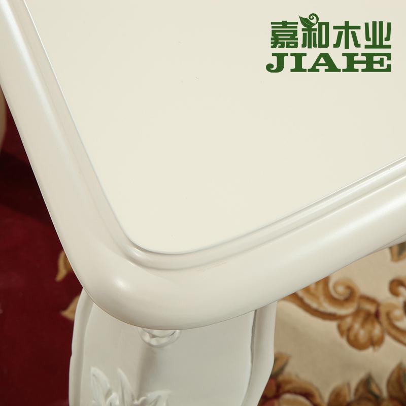 简欧式餐桌椅组合46人象牙白色实木雕花家用长方形小户型吃饭桌子