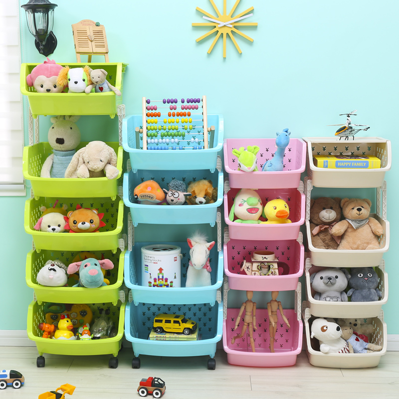 寶寶兒童玩具收納架 家用 經濟型廚房蔬菜籃置物架多層