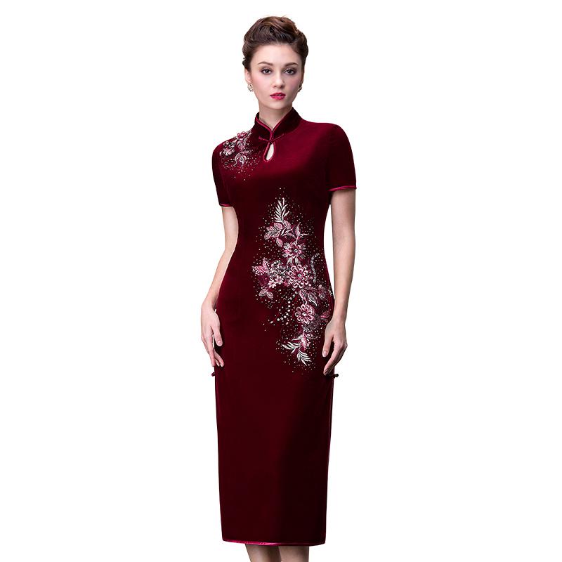 名兰世家新款改良中长款中式婚庆妈妈婆婆旗袍礼服女装红色连衣裙