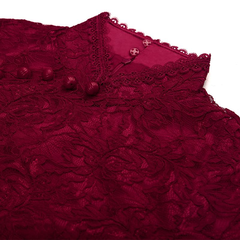 名兰世家妈妈装钉珠蕾丝改良旗袍长款婚礼婚宴喜婆婆短袖修身礼服