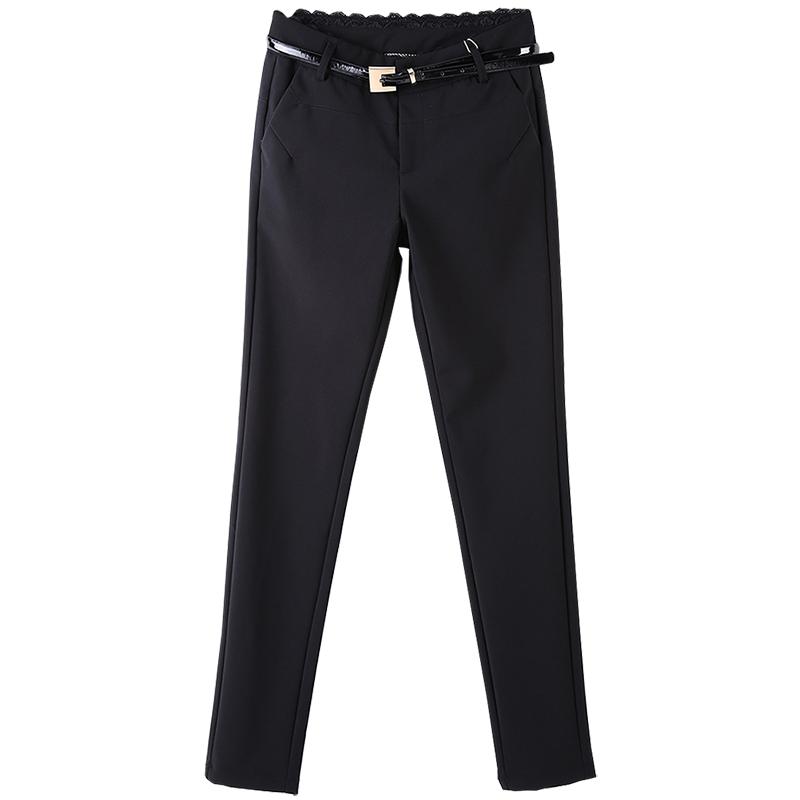 雅格斯曼2021春秋新款女铅笔长裤黑色高腰修身直筒小脚休闲西装裤高清大图
