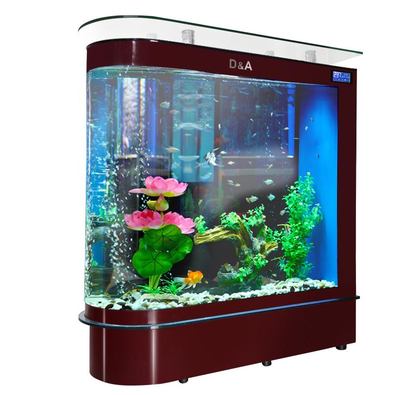 德国德克子弹头鱼缸客厅家用中型高清玻璃水族箱落地屏风生态鱼缸