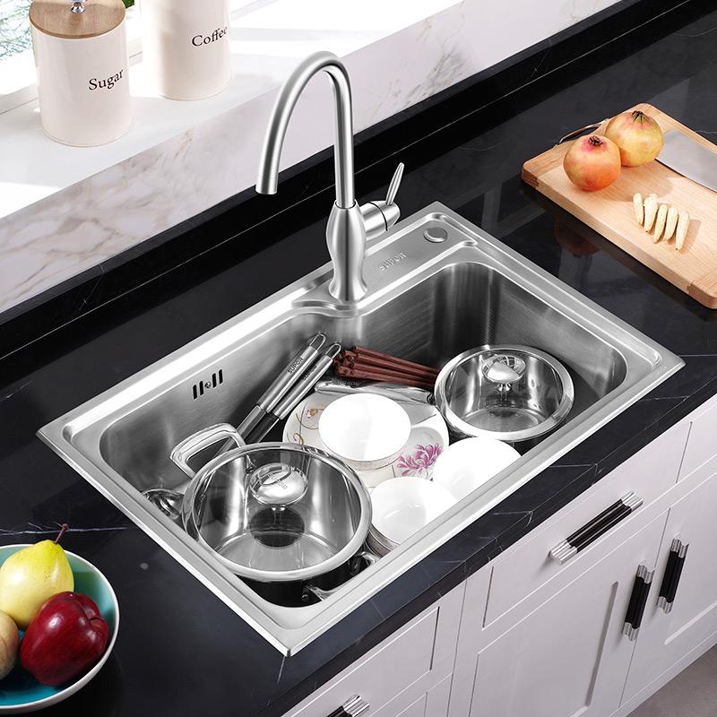 不锈钢洗菜池水池单盆大单槽套餐 304 苏泊尔水槽单槽厨房洗菜盆