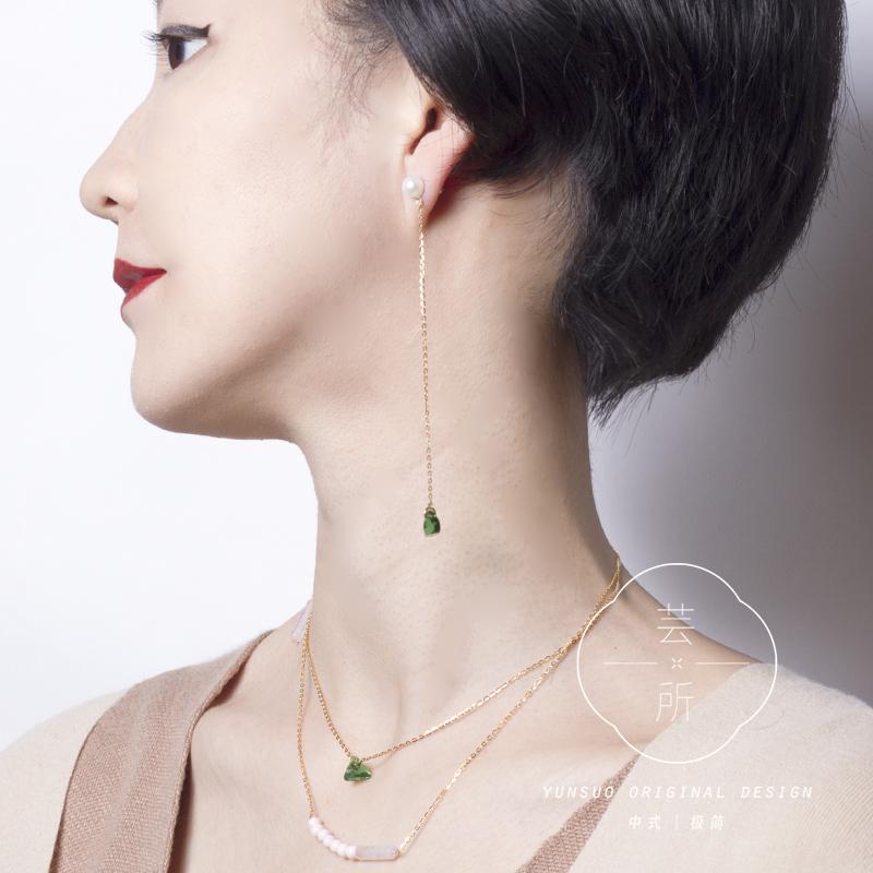 系列饰品 SKETCH 祖母绿粉水晶珍珠长款耳钉耳夹耳线芸所设计师滕月