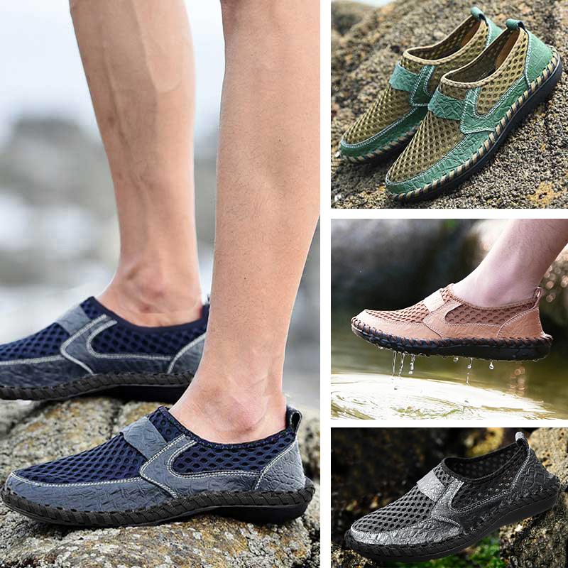 夏季男鞋透气真皮鞋子网面男士休闲布鞋夏天凉鞋运动一脚蹬懒人鞋
