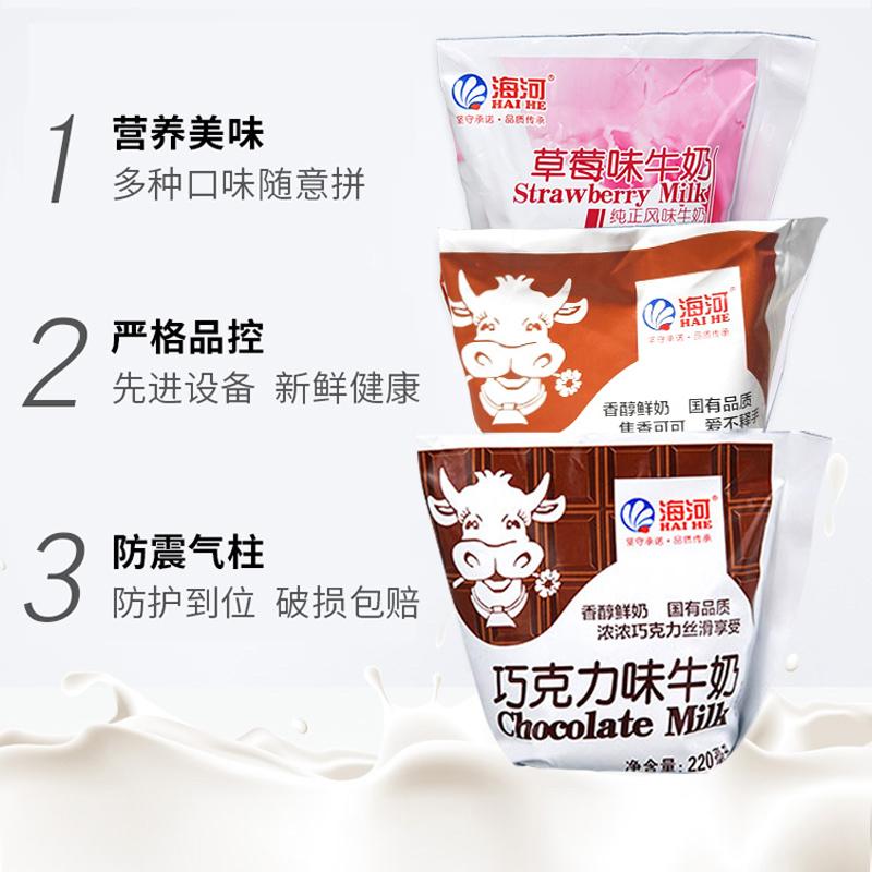 天津海河牛奶风味奶 可可草莓巧克力咖啡麦香纯奶椰子调制乳 包邮高清大图