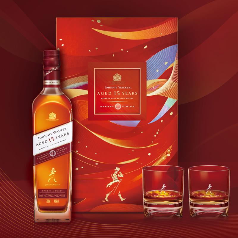 Johnnie Walker 尊尼获加 15年雪莉版调配威士忌 顺意团圆礼盒装 700ml