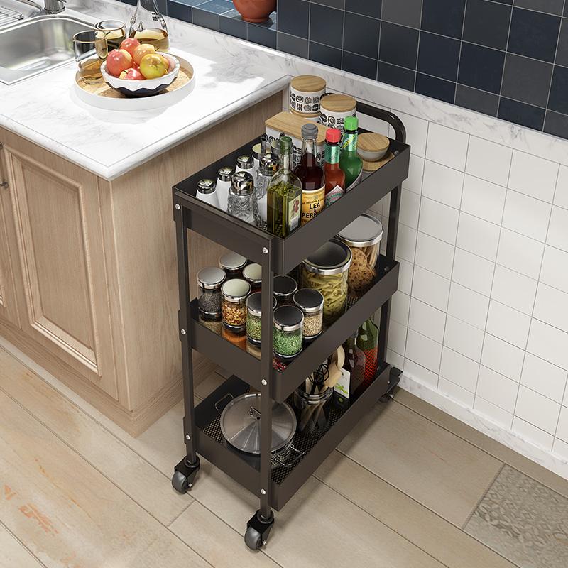 3层小手推车厨房夹缝置物架落地多层厨房调料架家用收纳架免打孔