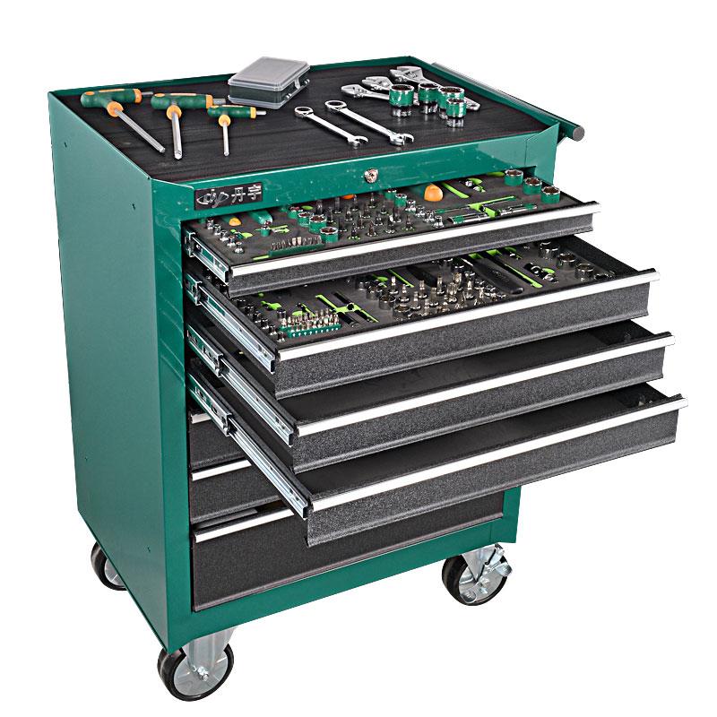 抽屉零件工具柜移动多功能五金工具箱维修推车 7 层 5 绿林汽修工具车