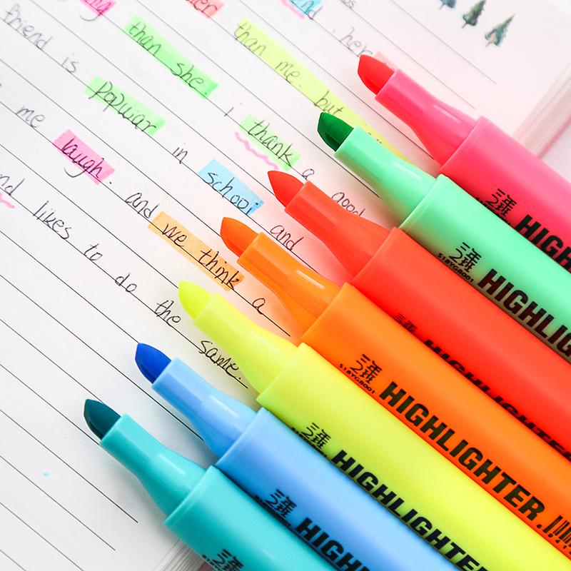 三年二班z日式三角笔杆荧光笔固体荧光笔彩色重点标记划线记号笔