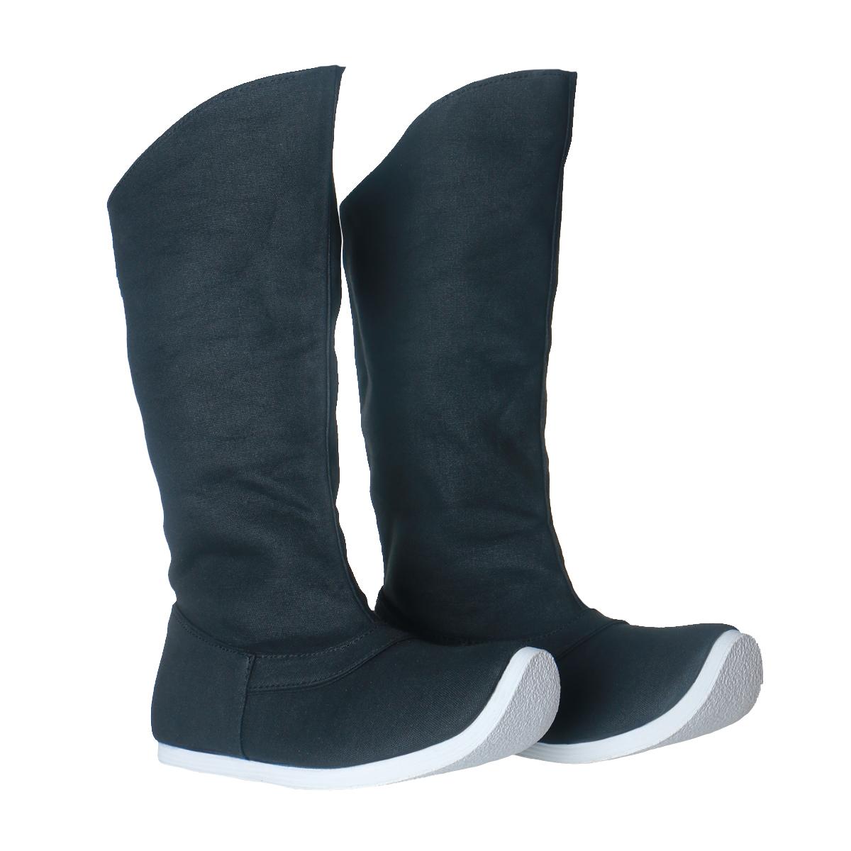 乌衣巷汉服皂靴男女明制翘头六缝靴帆布防水千层底内增高夏季汉鞋