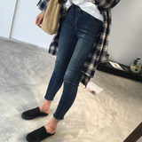 2019 new large size women's autumn dress fat sister was thin jeans women's high waist feet pants plush pants nine points