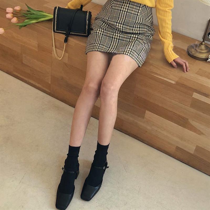 2019夏季新款复古方头高跟鞋女粗跟玛丽珍鞋一字扣包头后空凉鞋女
