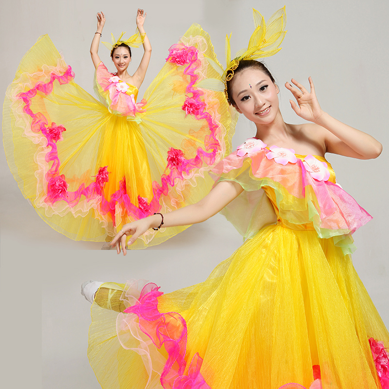 0bbdd360f1c3c Buy Kyushu opening dancers opening dance big skirt costumes big skirt dance  costume new yellow color in Cheap Price on m.alibaba.com