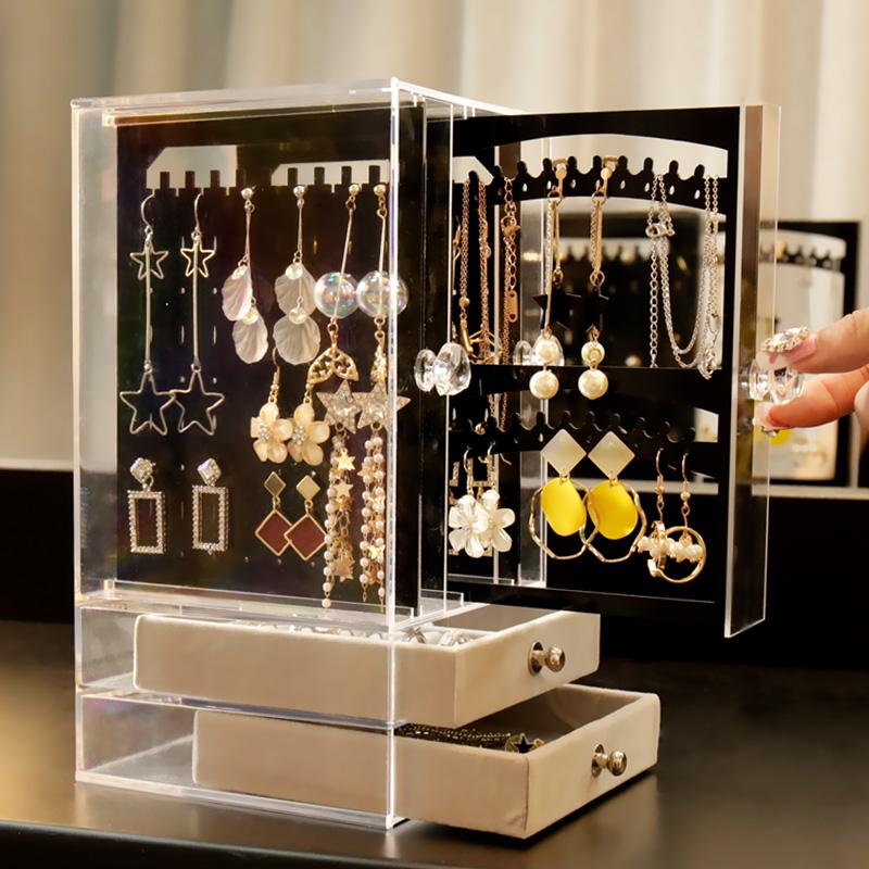亚克力耳环盒子透明耳钉首饰塑料整理收纳盒防尘挂饰品展示架包邮