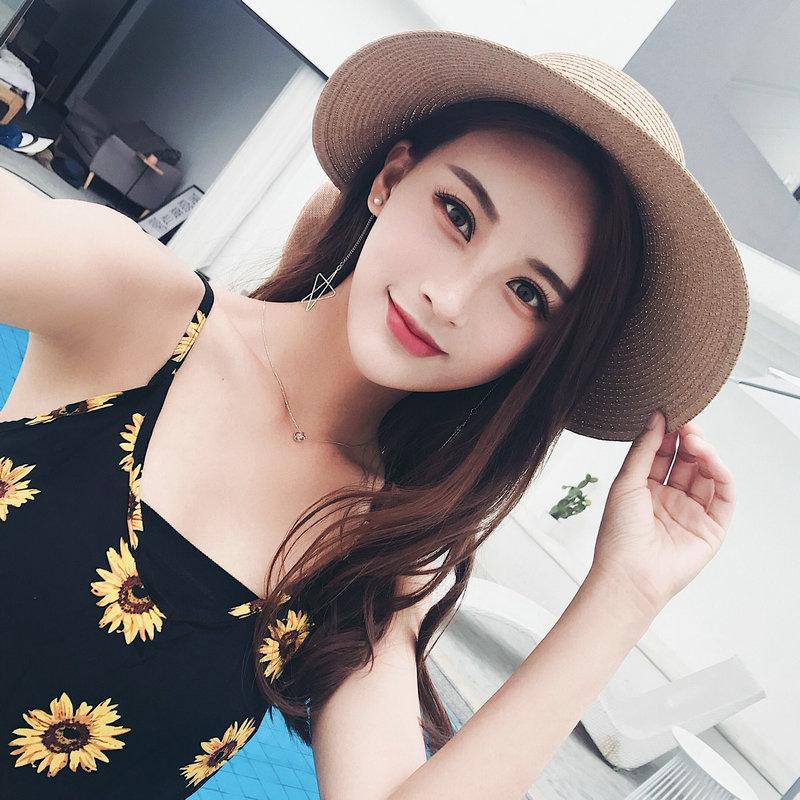 海滩度假出游太阳帽女遮脸防晒沙滩帽子防紫外线草帽夏可折叠海边