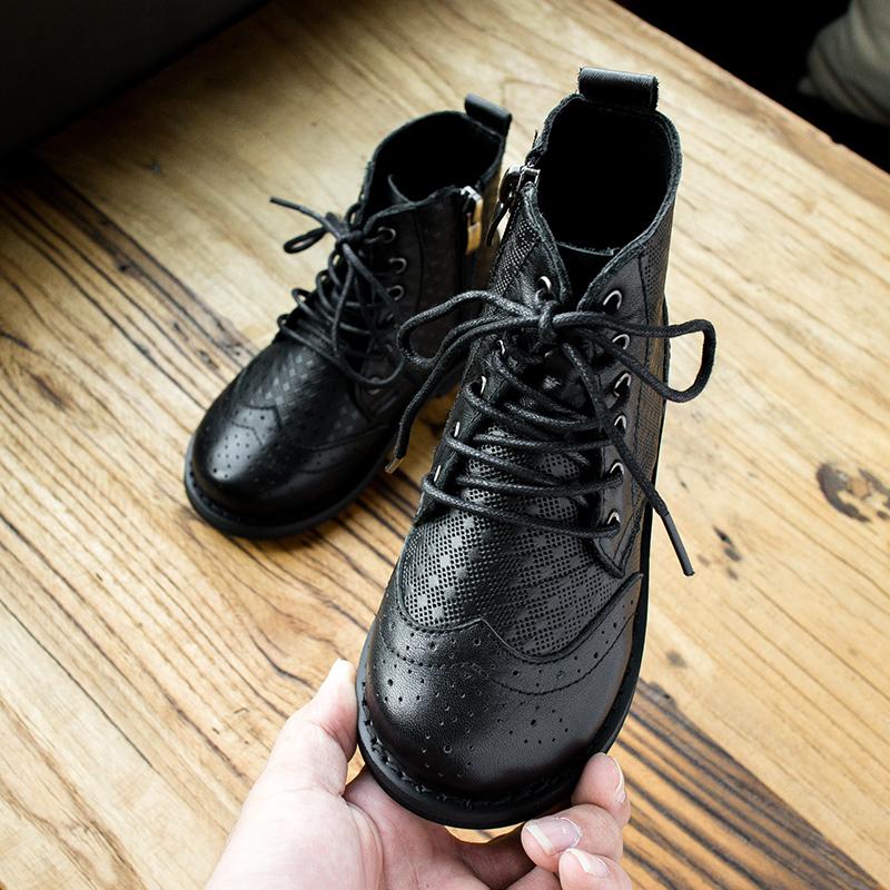 儿童亲子真皮女童马丁靴17秋冬新款英伦风儿童压花棉靴百搭款皮靴