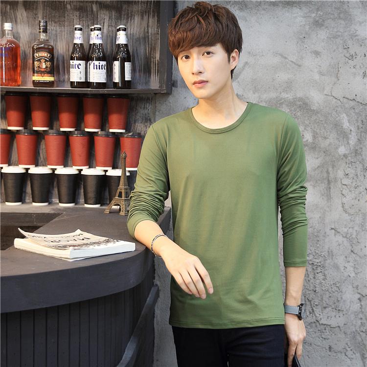 男士长袖T恤男纯色V领体恤打底衫秋季修身韩版男装上装衣服9.9元